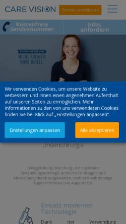 Vorschau der mobilen Webseite augenlaser.care-vision.de, Care Vision Augenlaserkorrekturen