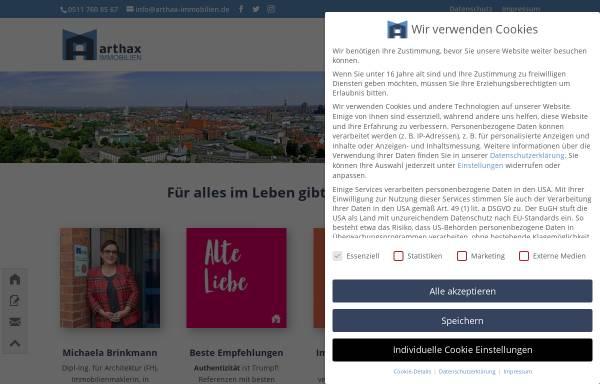 Vorschau von www.arthax-immobilien.de, arthax-immobilien.de, Dipl.-Ing. Michaela Brinkmann und Mirko Kaminski GbR