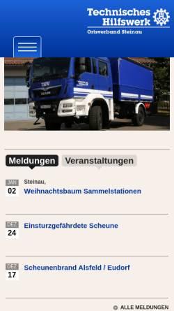 Vorschau der mobilen Webseite www.ov-steinau.thw.de, THW Steinau