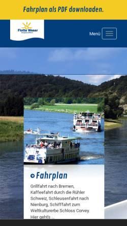 Vorschau der mobilen Webseite www.flotte-weser.de, Fahrgastschifffahrt Flotte Weser GmbH & Co KG
