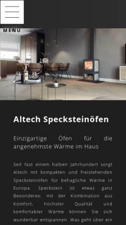 Vorschau der mobilen Webseite www.altechkamine.com, Altech BV
