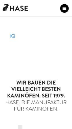 Vorschau der mobilen Webseite www.hase.de, Hase Kaminofenbau GmbH