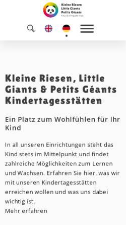 Vorschau der mobilen Webseite www.littlegiants.de, Little Giants - Giant Leap GmbH & Co. KG