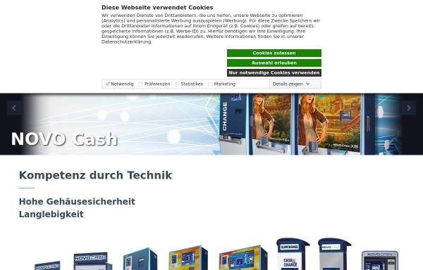 Vorschau von www3.novomatic.com, Hirscher Moneysystems GmbH