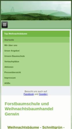 Vorschau der mobilen Webseite www.top-weihnachtsbaeume.de, Forstbetrieb Gerwin