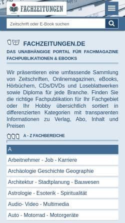 Vorschau der mobilen Webseite www.fachzeitungen.de, Fachzeitung.com