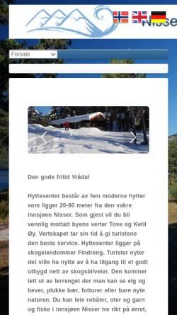 Vorschau der mobilen Webseite www.hyttesenter.no, Nissser Hyttesenter, Vrådal, Telemark