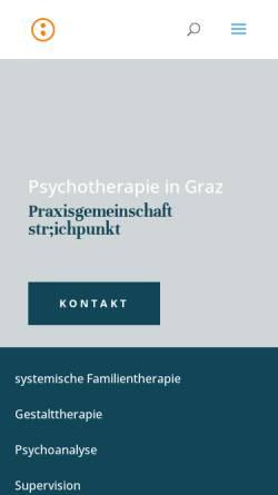 Vorschau der mobilen Webseite www.psychotherapie-graz.info, Str;chpunkt -Praxis für Psychotherapie und Psychoanalyse Mag. Michael Gloggnitzer