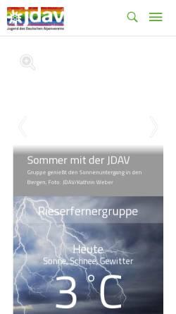 Vorschau der mobilen Webseite www.jdav.de, Jugendverband des Deutschen Alpenvereins