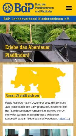 Vorschau der mobilen Webseite www.nds.pfadfinden.de, BdP Landesverband Niedersachsen
