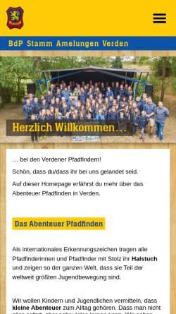 Vorschau der mobilen Webseite www.amelungen.de, BdP Stamm Amelungen, Verden