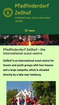 Vorschau der mobilen Webseite www.zellhof.at, Pfadfinderdorf Zellhof, Mattsee