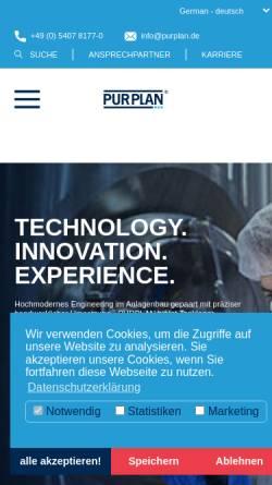 Vorschau der mobilen Webseite www.purplan.com, Purplan GmbH Tanklager - Reaktoren - Wärmetechnik