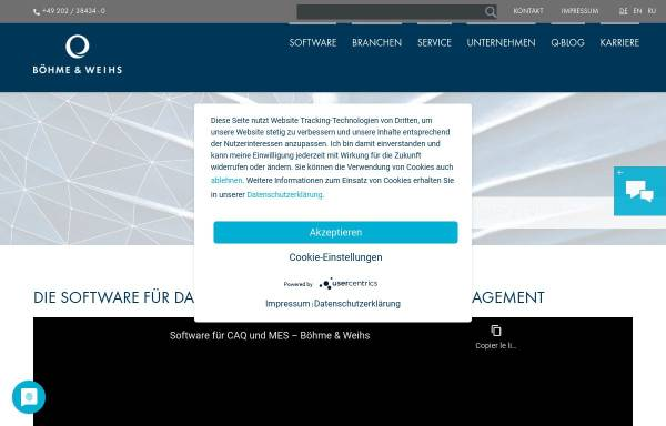 Vorschau von www.boehme-weihs.com, Böhme & Weihs Systemtechnik GmbH & Co. KG