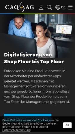 Vorschau der mobilen Webseite www.caq.de, CAQ AG Factory Systems