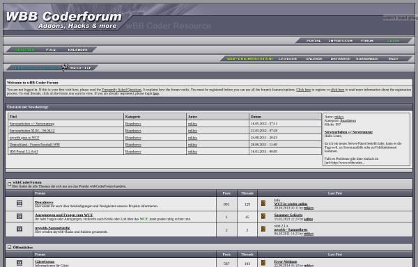 Vorschau von www.wbbcoderforum.de, wBB Coder Forum