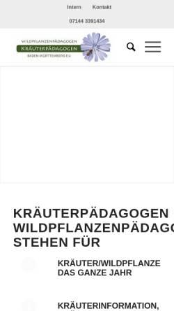 Vorschau der mobilen Webseite www.xn--ig-wildkruter-jfb.de, Interessengemeinschaft der Kräuterpädagoginnen Nord-Württemberg/Nord-Baden