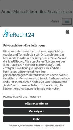Vorschau der mobilen Webseite www.finanzberatung-eiben.de, Anna-Maria Eiben - die FinancialArchitects AG