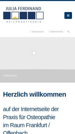 Vorschau der mobilen Webseite www.julia-ferdinand.de, Praxis für Osteopathie und angewandte Kinesiologie Julia Ferdinand