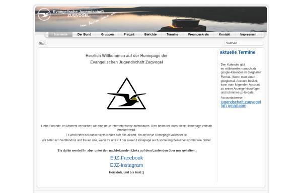 Vorschau von www.evangelische-jugendschaft-zugvogel.de, Evangelische Jugendschaft Zugvogel