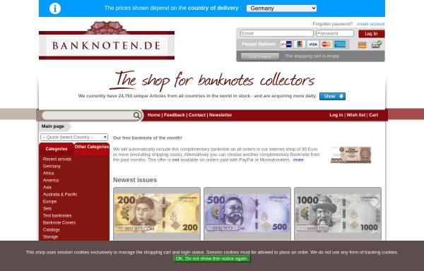Vorschau von www.banknoten.de, Banknote-Online, Hartmut Fraunhoffer