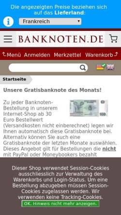 Vorschau der mobilen Webseite www.banknoten.de, Banknote-Online, Hartmut Fraunhoffer