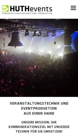 Vorschau der mobilen Webseite www.huthevents.de, HUTHevents Veranstaltungstechnik und -produktion