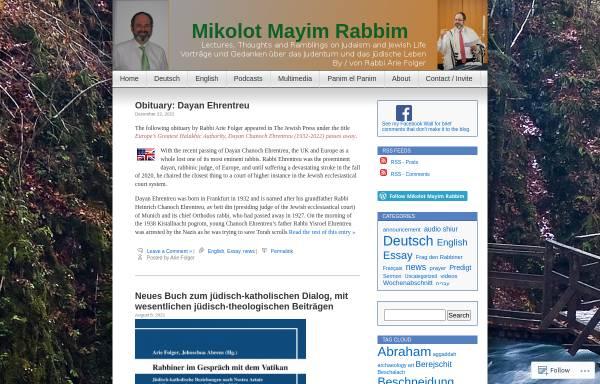 Vorschau von rabbifolger.net, Rabbi Arie Folger's Blog