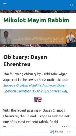 Vorschau der mobilen Webseite rabbifolger.net, Rabbi Arie Folger's Blog