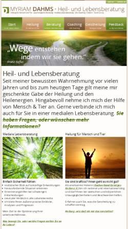 Vorschau der mobilen Webseite www.heil-lebensberatung.de, Myriam Dahms - Heil- und Lebensberatung