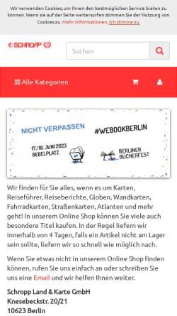 Vorschau der mobilen Webseite www.landkartenschropp.de, Schropp Land & Karte