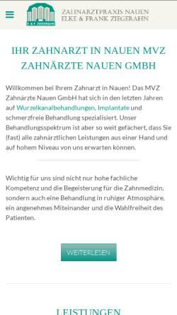 Vorschau der mobilen Webseite www.zahnarzt-nauen.de, Medizinisches Versorgungszentrum (MVZ) Elke & Frank Ziegerahn
