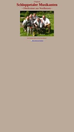 Vorschau der mobilen Webseite schloppetaler.de, Original Schloppetaler Musikanten