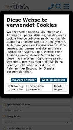Vorschau der mobilen Webseite kreuzfahrten-zentrale.de, Astoria Reisebüro GmbH [49074 Osnabrück]