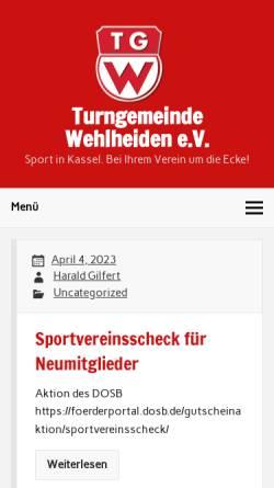 Vorschau der mobilen Webseite www.tg-wehlheiden.de, Turngemeinde Wehlheiden e.V.