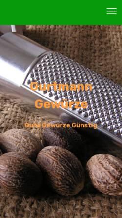 Vorschau der mobilen Webseite www.gurtmann-gewuerze.de, Gurtmann Gewürze