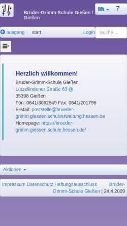 Vorschau der mobilen Webseite brueder-grimm.giessen.schule.hessen.de, Brüder-Grimm-Schule Gießen