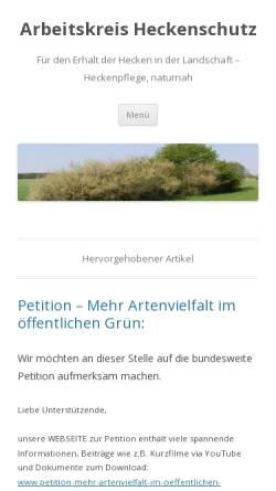 Vorschau der mobilen Webseite www.heckenschutz.de, Arbeitskreis Heckenschutz