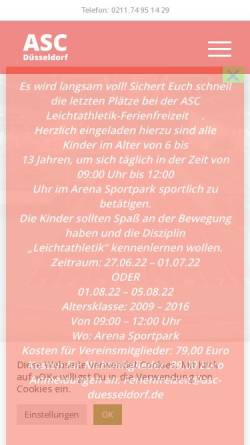 Vorschau der mobilen Webseite www.asc-duesseldorf.de, ASC Düsseldorf