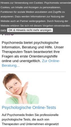 Vorschau der mobilen Webseite www.psychomeda.de, Psychomeda - Das Psychologieportal