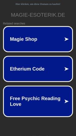 Vorschau der mobilen Webseite www.magie-esoterik.de, Magie und Esoterik Shop