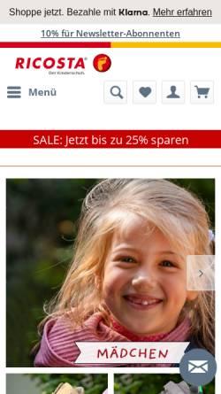 Vorschau der mobilen Webseite www.ricosta.de, Ricosta Schuhfabriken GmbH