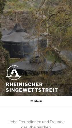 Vorschau der mobilen Webseite www.rheinischer-singewettstreit.de, Rheinischer Singewettstreit zu St. Goar