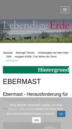 Vorschau der mobilen Webseite www.lebendigeerde.de, Ebermast - Herausforderung für Produzenten und Vermarkter