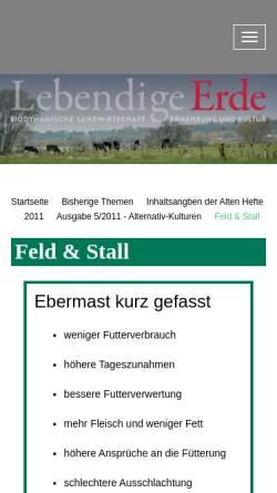 Vorschau der mobilen Webseite www.lebendigeerde.de, Ebermast kann lohnen