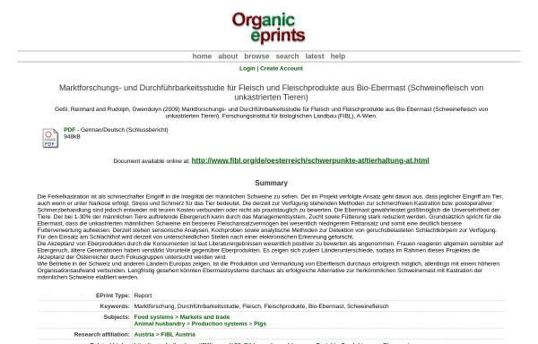 Vorschau von www.orgprints.org, Fleisch und Fleischprodukte aus Bio-Ebermast