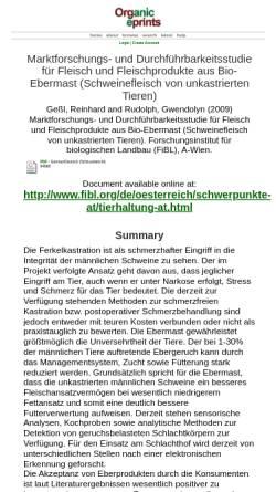 Vorschau der mobilen Webseite www.orgprints.org, Fleisch und Fleischprodukte aus Bio-Ebermast