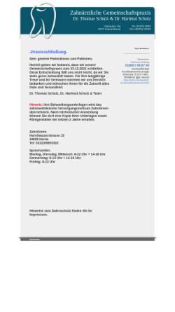 Vorschau der mobilen Webseite zahnarztpraxis-castrop.de, Dr. med. dent. Thomas Schulz und Dr. med. dent. Hartmut Schulz