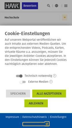 Vorschau der mobilen Webseite www.hawk-hhg.de, Fachhochschule Hildesheim/Holzminden/Göttingen - Fakultät Gestaltung