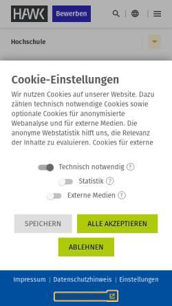 Vorschau der mobilen Webseite www.hawk-hhg.de, Hochschule Hildesheim/Holzminden/Göttingen - Fakultät Gestaltung